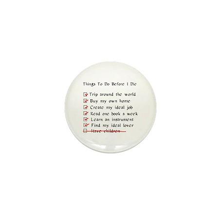 Child-Free Checklist Mini Button (10 pack)