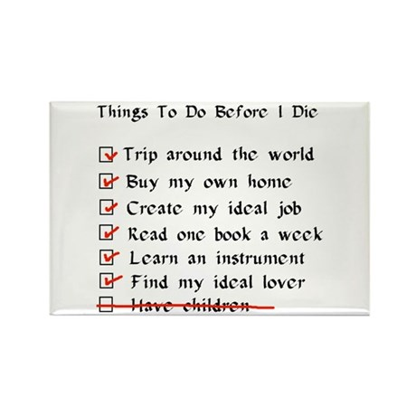 Child-Free Checklist Rectangle Magnet (10 pack)