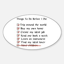 Child-Free Checklist Oval Decal