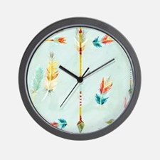 BOHO Bohemian Arrows Feathers Leaf Swir Wall Clock