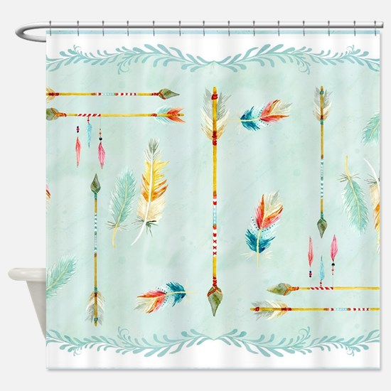 BOHO Bohemian Arrows Feathers Leaf Shower Curtain