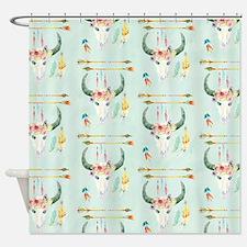 BOHO Bohemian Cow Skull Arrow Feath Shower Curtain