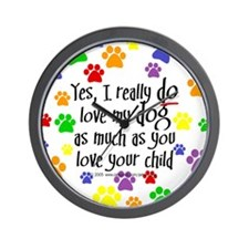 Yes, love dog, child Wall Clock