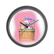 bichon easter basket Wall Clock