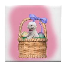 bichon easter basket Tile Coaster