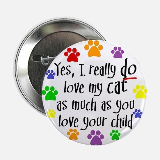 Love cat, child Button