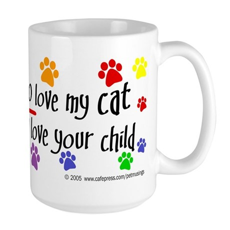 Love cat, child Large Mug