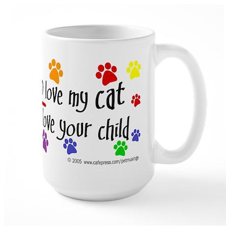 Love cat, child Large Mug