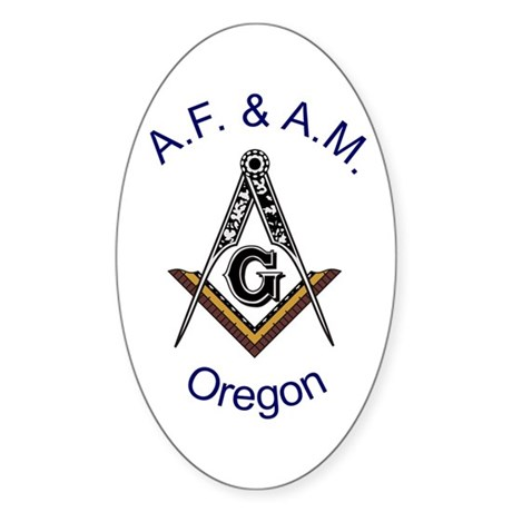 Oregon Square and Compass Oval Sticker