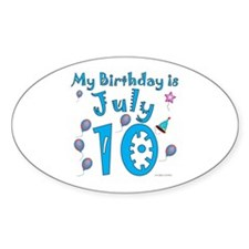 July 10th Birthday Oval Decal
