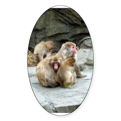 snow monkeys Oval Sticker (50 pk)