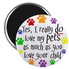 Love pets, child Magnet