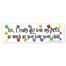Love pets, child Bumper Bumper Sticker