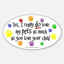 Love pets, child Oval Decal