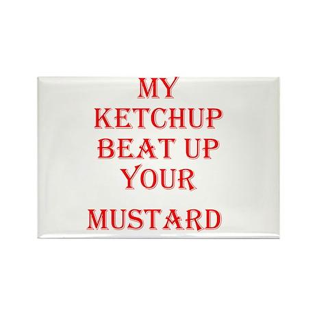 Ketchup Beat Mustard Rectangle Magnet