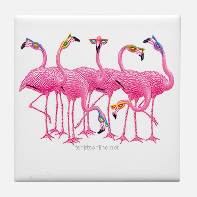 Cute Flamingo Tile Coaster