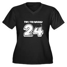 2024 Women's Plus Size V-Neck Dark T-Shirt
