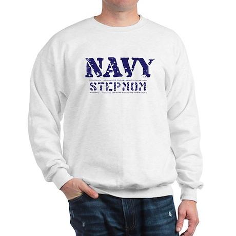 Navy Stepmom Worn Stencil Sweatshirt