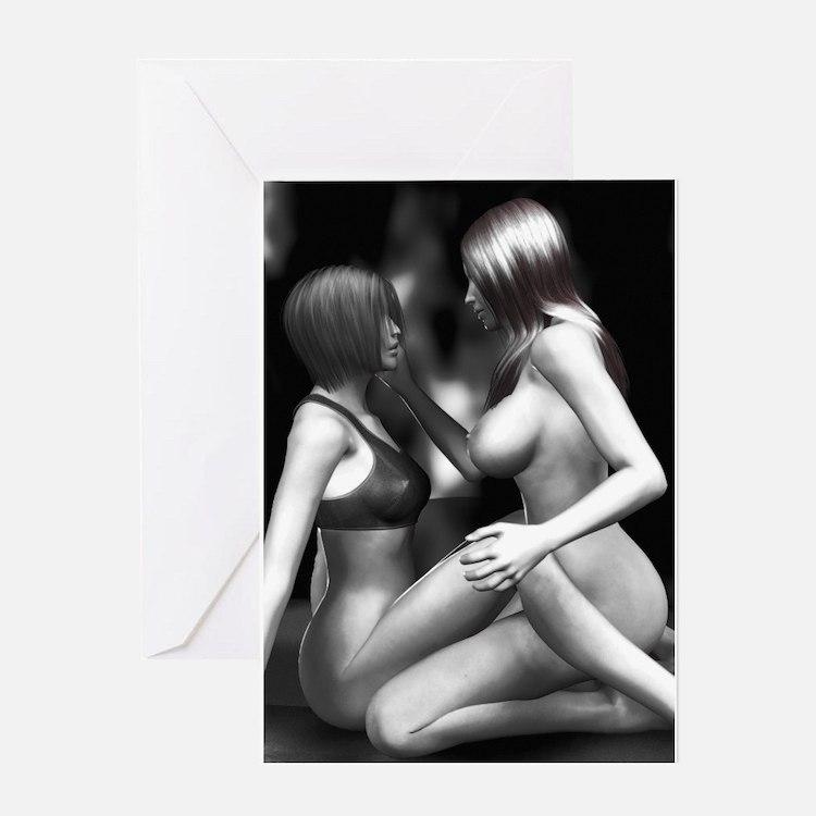 Cute Nude sexy girls Greeting Card