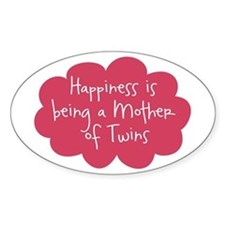 A Mother of Twins Oval Decal