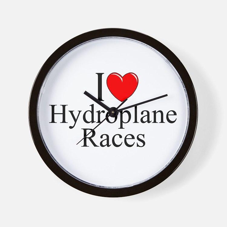 """I Love (Heart) Hydroplane Races"" Wall Clock"