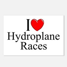 """""""I Love (Heart) Hydroplane Races"""" Postcards (Packa"""