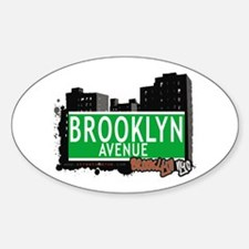 BROOKLYN AVENUE, BROOKLYN, NYC Oval Decal