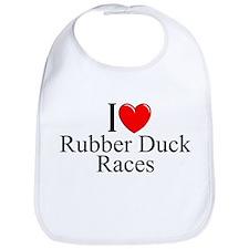 """""""I Love (Heart) Rubber Duck Races"""" Bib"""