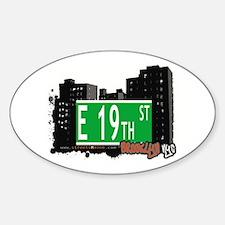 E 19th STREET, BROOKLYN, NYC Oval Decal