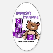Bear & Blocks 1 Hodgkin's Lymphoma Oval Decal