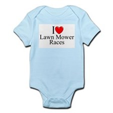 """I Love (Heart) Lawn Mower Races"" Infant Bodysuit"