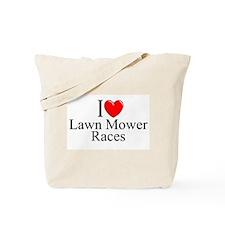 """I Love (Heart) Lawn Mower Races"" Tote Bag"