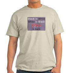 1984 Big Bro Propaganda lies on Ash Grey T-Shirt