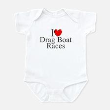 """""""I Love (Heart) Drag Boat Races"""" Infant Bodysuit"""