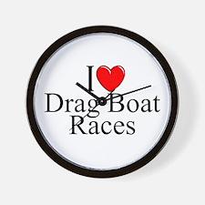 """""""I Love (Heart) Drag Boat Races"""" Wall Clock"""