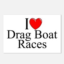 """I Love (Heart) Drag Boat Races"" Postcards (Packag"