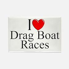 """I Love (Heart) Drag Boat Races"" Rectangle Magnet"