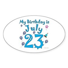 July 23rd Birthday Oval Decal