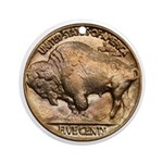 Nickel Buffalo Ornament (Round)