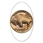 Nickel Buffalo Oval Sticker