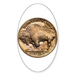 Nickel Buffalo Oval Sticker (10 pk)