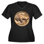 Nickel Buffalo Women's Plus Size V-Neck Dark T-Shi