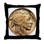 Nickel Indian Head Throw Pillow