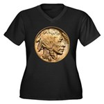 Nickel Indian Head Women's Plus Size V-Neck Dark T