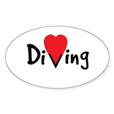 Diving Love Oval Decal