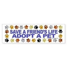 Save life, pet. Bumper Car Sticker