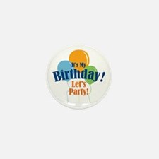 Birthday Party Balloons Mini Button (10 pack)