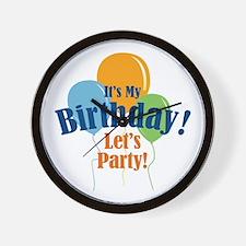 Birthday Party Balloons Wall Clock