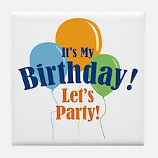 Birthday Party Balloons Tile Coaster