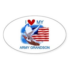 Love My Army Grandson Oval Decal